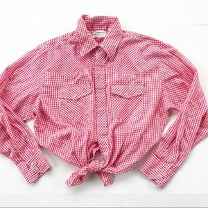 Vintage Gingham Western Snap Button Down L red